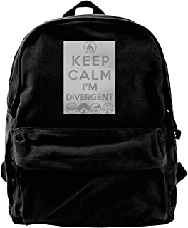 "Mochila de lona con texto en inglés ""Keep Calm I'm Divergent"", para gimnasio, senderismo, portátil, bolsa de hombro para h..."