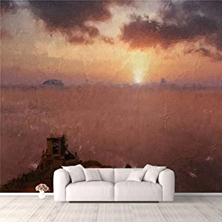 Modern 3D PVC Design Removable Wallpaper for Bedroom Living Room Oil painting of a sunset sky and the view from the hill t...