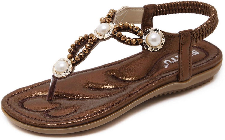 Jazlyn Pearl Crystal Beaded Elastic T-Strap Thong Flat Sandals Flip Flops for Girls Women Wedding