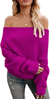 Womens Off The Shoulder Sweater Sexy V Neck Pullover Sweaters Oversized Chunky Knit Jumpers