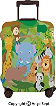 Fashion Travel Suitcase Protector Zipper,Funny Playful Jungle Animals Wildlife Mammals Trees Flowers Colorful Cute Nature Multicolor,30x40inches,Washable Print Luggage Cover