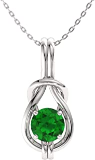 Diamondere Natural and Certified Gemstone Infinity Knot Solitaire Necklace in 14k White Gold   0.41 Carat Pendant with Chain