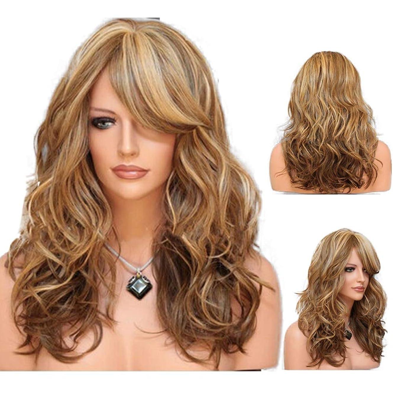 囲まれた義務形女性の長い巻き毛の波状髪のかつら24インチ魅力的な熱にやさしい人工毛交換かつらハロウィンコスプレ衣装アニメパーティーかつら(かつらキャップ付き) (Color : Brown)