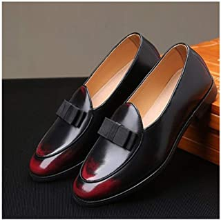 ZHANGLEI Retro Bowtie Oxfords for Men Dress Loafers Slip on PU Leather Pointed Toe Burnished Style Stitch Wear-Resisting Low Heel (Color : Red, Size : 7 UK)