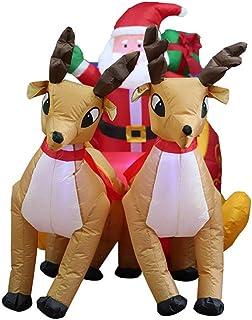 LYANXI Papá Noel con Trineo Renos Hinchable Inflable 220cm×130cm decoración de Navidad iluminación Luces de Exterior Interior