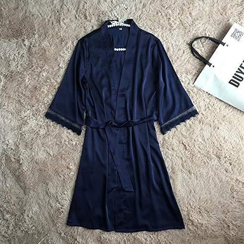 JFCDB Zomer pyjama,Nieuwe satijnen vrouwen slaapset nachtkleding lente pyjama met lange mouwen pyjama set sexy gewaad kimono badjas casual nachtkleding, marineblauw gewaad, m