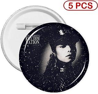 RichardJCrosby Fashion Decoration Janet Jackson Rhythm Nation 1814 Music Concert Round Badge for Bag Hats Clothes Gift L 5 PCS