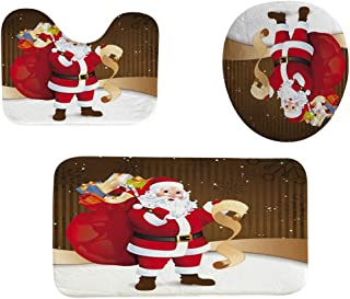 Beyonds Bathroom Mat Sets 3 Piece, Christmas Santa Claus Tree Shower Curtain Carpet Doormats Toilet Decor Rugs Bath Mat for tub Kids Floor, Christmas Non-Slip Bathroom Mat