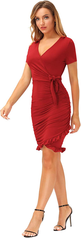 LIUMILAC Womens Ruched Dress Summer Wrap V Neck Casual Bodycon Cute Ruffle Dress