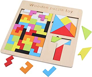 GEMEM 3 in 1 Large Wooden Tetris Puzzle Brain Teasers Wood Puzzle Toy for Kids Adults Tangram Intelligence Colorful 3D Russian Blocks Game STEM Montessori Educational Gift