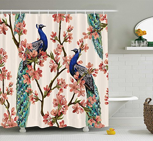 Manerly Shower Curtain with Peacock Tropical Flowers Pattern,Polyester Fabric Waterproof Bath Curtains, 71 by 71 Inches
