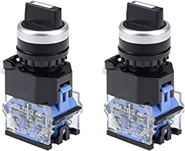 uxcell Rotary Selector Switch 3 Positions 2NO Self-Lock Latching AC 660V 10A 22mm Panel Mount Set of 2