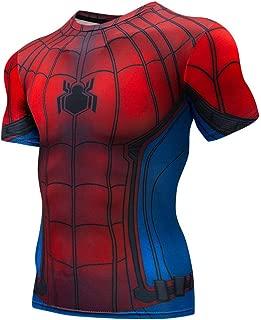 Quick Cool Dry Fit T-Shirt 3D Print Marvel Superhero Men's Compression Short Sleeve Sport Baselayer Pro Athlete Red Blue