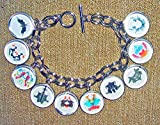 INKBLOT TEST CHARM BRACELET Rorschach GLASS Covered Charms Psychology Personality Test Images