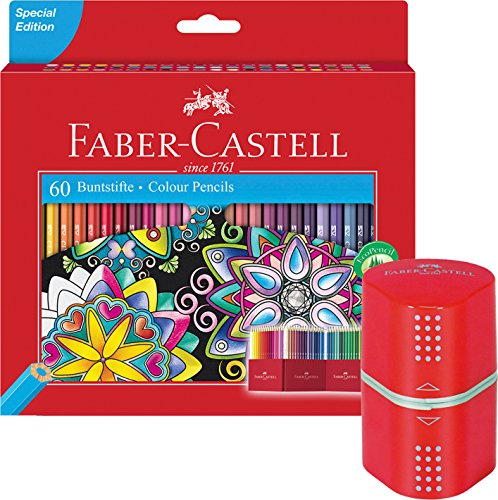 Faber-Castell 111260 - Buntstift Castle, 60er Kartonetui + GRIP Doppelspitzdose [ rot ]
