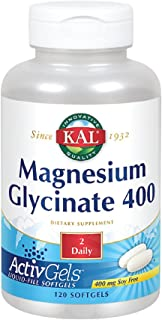 KAL Magnesium Glycinate 400 ActivGels   Soy-Free Liquid-Filled Softgels   for Relaxation and Healthy Muscle Function   120 Softgels