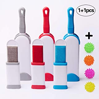 Pet Lint Hair Remover Brush - Dog & Cat Hair Remover for Furniture, Carpet, Couch, Clothing Animal Fur & Dust Removal Tool,Double Sided Self-Cleaning Base Lint Brush,Free Toy. (Blue)