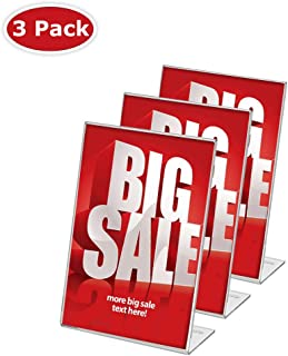 Display4top 3 Pack, 8.5 x 11 Inches Displays Clear Acrylic Slanted Sign Holders Portrait Ad Frame.(super unbreakable)