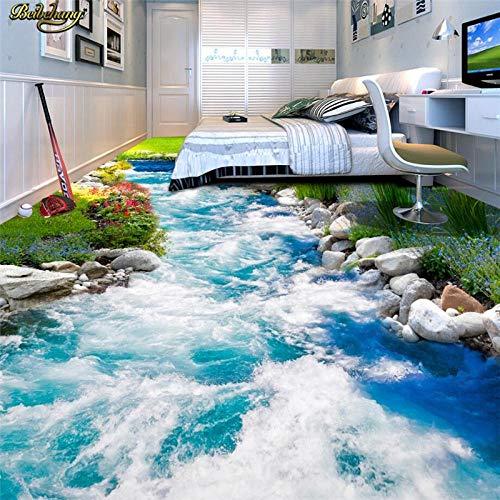 Papel pintado de foto personalizado pintura de suelo a rayas Grass Creek agua 3D baldosa tridimensional pintura-400 * 300 cm