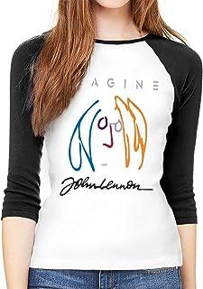 ジョン レノン レディース ロング Tシャツ らぐらん 半袖 七分袖 カットソー 無地 ラウンドネック カジュアル ファッション
