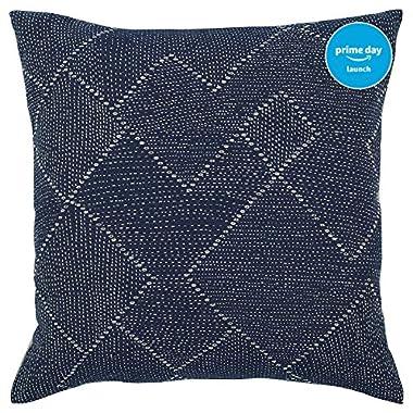 Stone & Beam Transitional Woven Diamond Pillow, 17  x 17 , Indigo