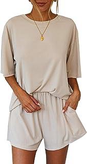 Arjungo Women's Stripe Daisy Print Short Pajamas Set Short Sleeve Top and Shorts Sleepwear Loungewear Nightwear