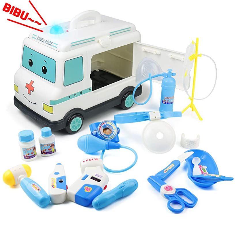 Doctor Kit for Kids Medical Set Ambulance Toy Realistic Pretend Play Dr Set with Siren Lights and Sounds Car Nurse Fun Gift for Toddlers Boys Girls Child 3 4 5 6 Year Old
