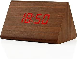 Oct17 Wooden Wood Clock, 2019 New Version LED Alarm Digital Desk Clock 3 Levels Adjustable Brightness, 3 Groups of Alarm Time, Displays Time Date Temperature - Brown (Red Light)