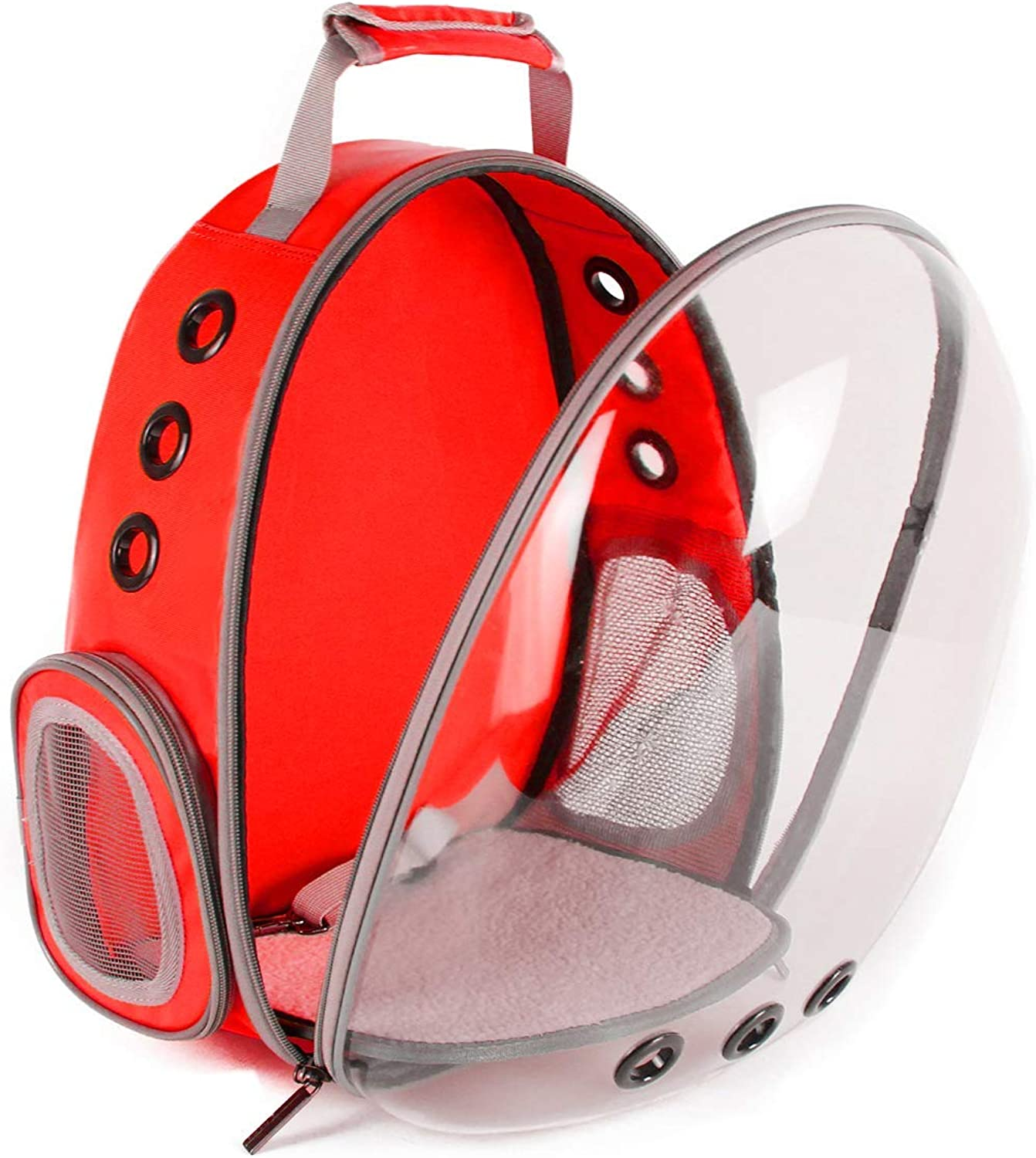 Backpack Cat Outdoor Carrying, Space Capsule Pet Carrier for Small Dog, Transparent Waterproof Cat Holding, Red