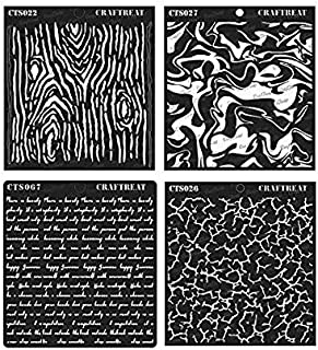 CrafTreat Stencil - Woodgrain, Crackle, Marble & Script (4 pcs) | Reusable Painting Template for Home Decor, Crafting, DIY Albums and Printing on Paper, Wall Tile, Fabric, Wood 6