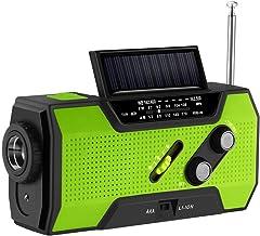 Aozbz zonne-handslinger voor noodgevallen, zelfbediende noodradio, weerradio, 2000 mAh-powerbank, lichte zaklamp, leeslamp...