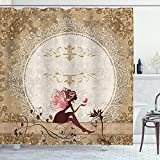 Ambesonne Fantasy Shower Curtain, Fairytale Elf Pixie Sitting Lace Petals with Butterfly Shabby Form Art Print, Cloth Fabric Bathroom Decor Set with Hooks, 84' Long Extra, Maroon Beige