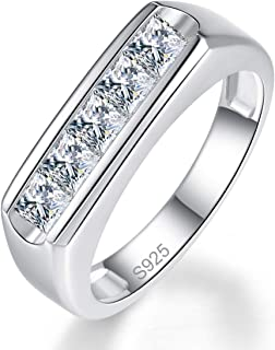 BONLAVIE 925 Sterling Silver Princess Cut Cubic Zirconia CZ Wedding Band Ring for Mens Womens 6-12