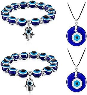 BMBN Oorbellen Ketting, Demon Eye Ketting Armband Boze Oog Met Touw Blauw Ooghanger Voor Vrouwen Mannen Jongens Meisjes Bl...