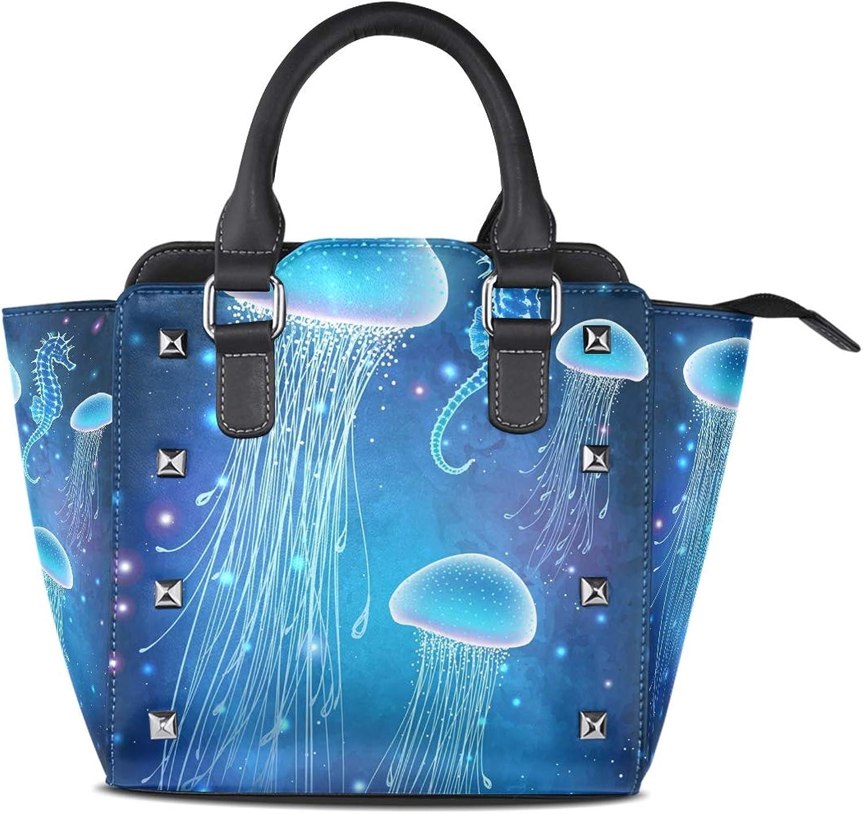 My Little Nest Women's Top Handle Satchel Handbag Beautiful Jellyfish Ladies PU Leather Shoulder Bag Crossbody Bag