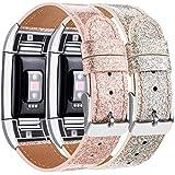 [page_title]-Yandu Ersatz-Armband für Fitbit Charge 2, Leder, klassisch, verstellbar, Fitness-Accessoires, Metallverbinder, 2PC Flash Gold + Flash Rosegold