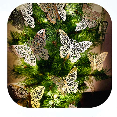 24 Pieces Christmas Tree Topper Classic Butterfly Decorations Cards Cherish Gold & Silver Sparkle Theme