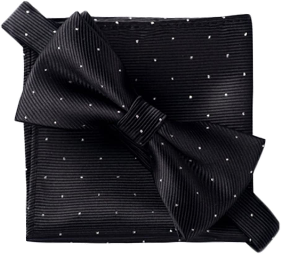 Alien Storehouse Men's Elegant Black Party/Business Bow Tie Set Pocket Square