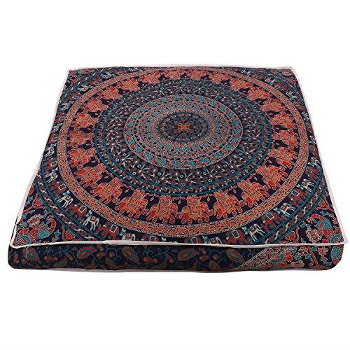 Schöner Mandala-Bodenkissen, quadratisch, für Meditationskissen, Überwurf, dekorativer Boho-indischer Bezug (89 cm)
