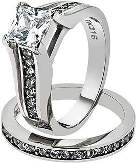 Marimor Jewelry Princess Cut Zirconia Stainless Steel 316 Wedding Ring Band Set Womne's SZ 5-11
