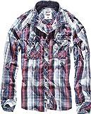Brandit Central City Check - Camisa vintage azul marino y blanco. XXXL