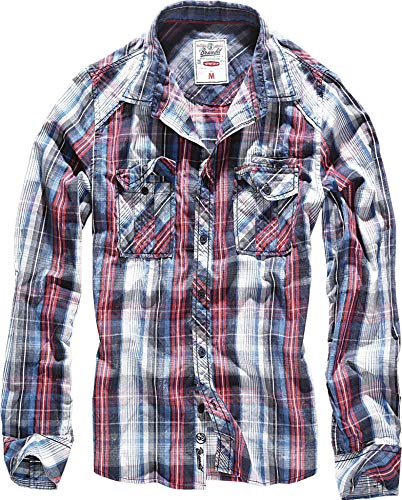 Brandit Central City Check Shirt Vintage Hemd, Navy-white, 5XL