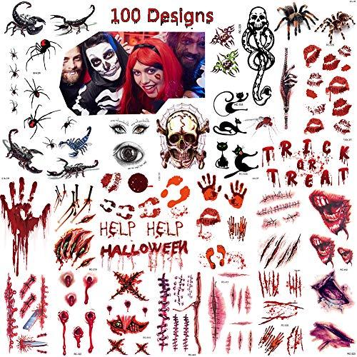 Bibivisa Halloween Temporäre Tattoos (28 Blatt) - Narben Wunden Tattoos Zombie Schminke Scars Tattoo, Aufkleber mit gefälschten Scab Blut Kostüm Makeup Stützen
