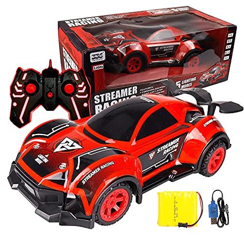KGUANG 2.4G Cool Light Music RC Car 4 × 4 Drift Off-road Carga USB Camión de juguete para niños Alta velocidad TPR Resistente a choques Neumático de vacío Buggy Todo terreno Vehículo de regalo de Navi
