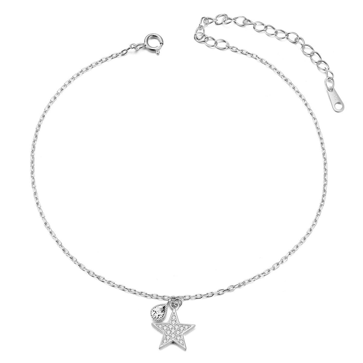 SHEGRACE Star and Moon Anklet,925 Sterling Silver Charms Anklet Bracelet for Women Beach, Casual