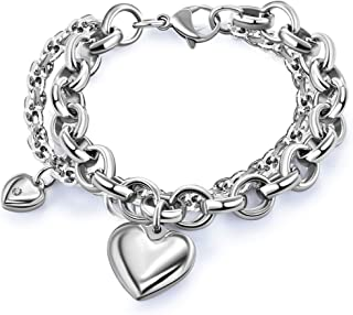 Womens Heart Pendant Bracelet with Double Gorgeous Chain Stainless Steel Silver Drop White Hot Punk Sexy Hiphop Jewelry Girls