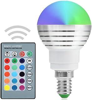 Eléctrica industrial XSRKHome bombilla LED E14 RGB Bombilla regulable Bombilla LED 5W Bombilla LED con 24 teclas de control remoto por infrarrojos Adecuado para sala de estar CA 85-265V Bombillas