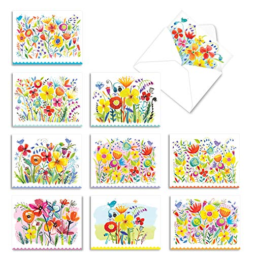 The Best Card Company - 10 Blank Flower Cards Boxed (4 x 5.12 Inch) - Assorted Floral Notecard Set - Garden Delights M6562OCB