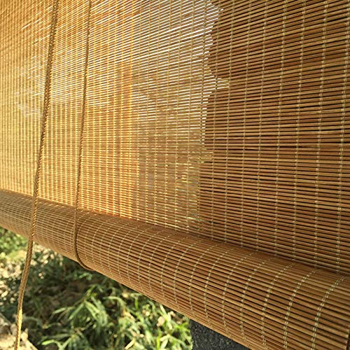 JLXJ Store Enrouleur Occultant Pergola Extérieure Étanche Abat-Jour en Bambou, 105cm/125cm/145cm/155cm de Large, Filtrage de La Lumière Brune Rideau Pare-Soleil (Size : 155×120cm(61\
