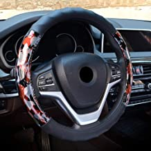 TUDB Black New Microfiber Leather Car Steering Wheel Cover Gray And Brown Camouflage Handlebar Fashion Sports 3D Three-dimensional Texture Four Seasons Universal Diameter 38CM Change your car